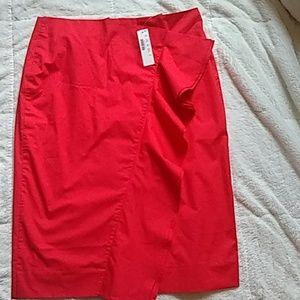 J. Crew Red Ruffled Pencil Skirt